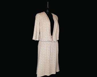 Vintage Women's Suit, 1960's, Knit, Taupe Print, Box Jacket, Bell Sleeves, Medium