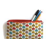 autumn flower zipper pouch, school pencil bag, cosmetic makeup travel purse