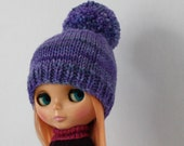 Meg Bobble Hat for Blythe knitting PATTERN worsted weight knit pom pom doll hat - instant download - permission to sell finished objects