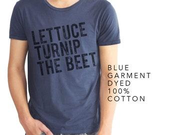 lettuce turnip the beet ® trademark brand OFFICIAL SITE - blue garment dyed cotton t shirt, farmers market, vegan, vegetarian, chef, garden