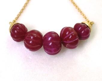 Supreme Ruby Carved Bead Demi Necklace, 22kg Vermeil, Gorgeous Fine Gemstone Necklace...