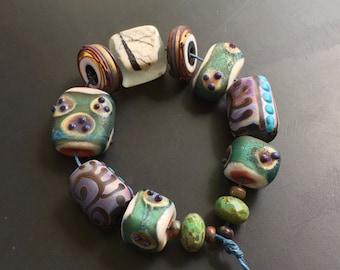 "Handmade lampwork glass bead set by Lori Lochner ""Rustic eclectic"" artisan jewelry making supply"