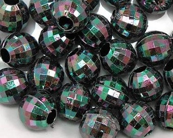 30 Black AB Faceted Acrylic Beads 12MM, large hole beads (H2101)