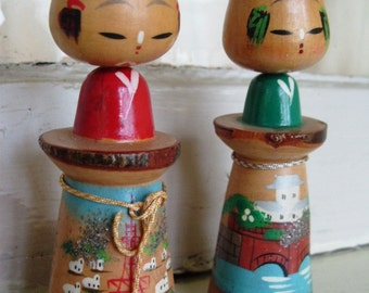 Vintage Kokeshi Doll Set with Handpainted Body