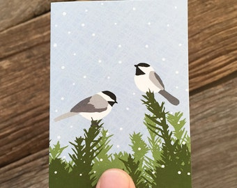 gift enclosure cards / mini cards / chickadees
