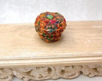 Mini Gift Box - Orange Green Silk Tapestry Basket with Button Embellished Lid - HandMade Unique Retro Mod Ring Box - Shelf Decor Gift STB078