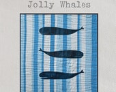 Jolly Whales Quilt Pattern - A fun quilt featuring three large whales frolicking in the ocean swell!
