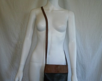 Vintage 80s 90s black brown Leather cross body bag purse