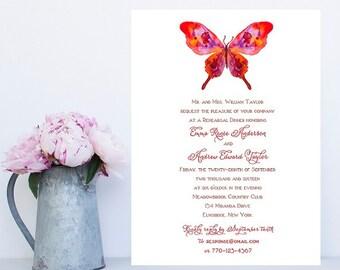Butterfly Rehearsal Dinner Invitations - Wedding Dinner Invitations, Wedding Rehearsal, Invitation
