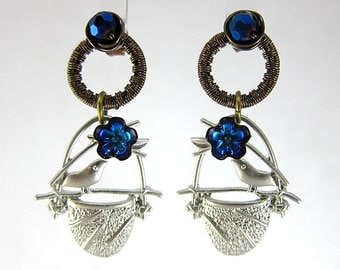 Metallic Blue Wire Wrapped Studs Dangle With Crystals Bird Earrings Woodland Silver Wings Free Elegant Feminine Bling Nature