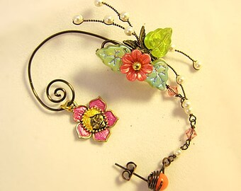 Fairy Ear Wrap, Fairy Ear Cuff, Woodland Fairy Jewelry, Flower Fairy Earrings, Fairy Cuff Earring, Pink Fantasy Earrings, Fairytale Earrings