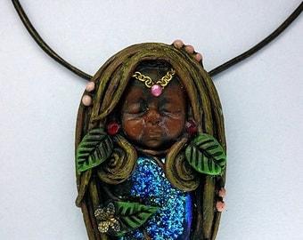 Titanium Solar Druzy Quartz Fairy Pendant Necklace, Polymer Clay Fairy Necklace, Wings Fairy Necklace, Fairy Goddess Necklace, Sculpt Fairy