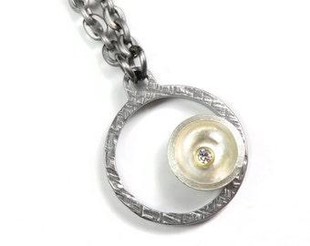 Offset Diamond Hoop Necklace