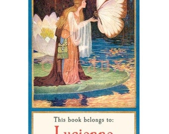 Lily Pond Fairy - Personalized Bookplates - Magical Vintage Gift - Waldorf Library, Ex Libris