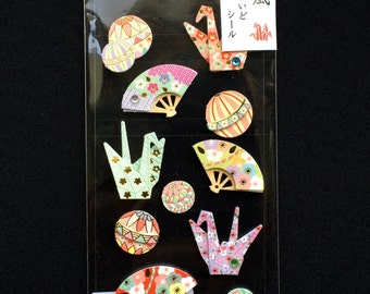 Japanese Style Craft Stickers - Traditional Japanese Stickers - Origami Crane - Temari Balls - Fan -   S259