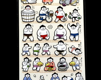 Japanese Stickers - Sumo Wrestlers - Sumo Wrestler Stickers  Washi Paper (S56)