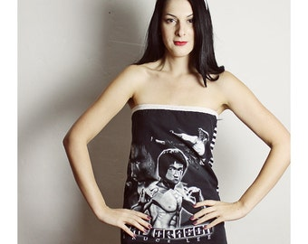 Bruce Lee Shirt, The Dragon tube top, Handmade Bruce Lee Tube Top , Handmade womens clothing , Bruce Lee Clothing