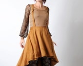 Camel high-low skirt, Womens suspender skirt, Caramel supple faux suede skirt with crossed straps, Womens ample high waist skirt, Your size
