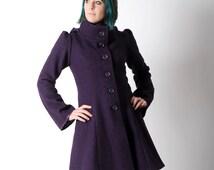 Purple wool coat, Dark purple womens coat with pixie hood, Purple hooded winter coat, virgin wool coat, sz UK 10