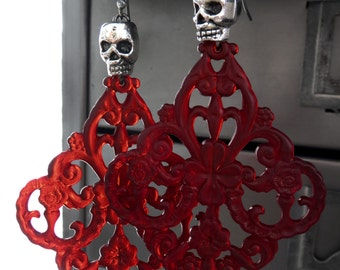 Blood Red Chandelier Earrings with Silver Skulls - Goth Gothic Halloween Jewelry, Dark Red Ornate Acrylic Large Chandelier Earrings