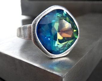 Ocean Sunset Swarovski Crystal Ring, Aqua Cobalt Blue Yellow, Cast Antique Silver Adjustable Ring, Cushion Cut Crystal Cocktail Ring 4470