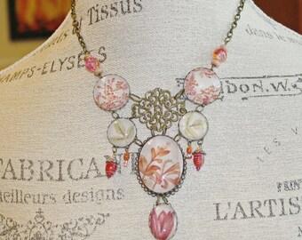 Botanical Specimen Art Necklace, Boho Funky, Chunky One of a Kind Statement Piece--ORCHID BOTANICA Vintage Style Necklace