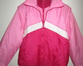 Puffy Pink Ski Jacket - Vintage 80's - Ladies Size LARGE L By Apres Sport - Convertible into Vest