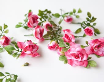 12 Smaller Roses and Rose Foliage in Two Tone Pink - Artificial Flowers, Artificial Roses - ITEM 075