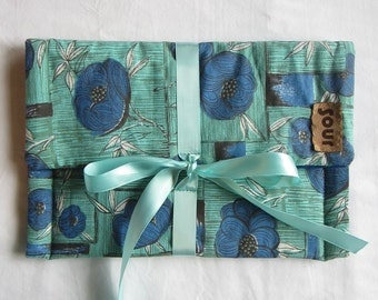 Chasing Light // Blue, Green and Floral Clutch Bag with decorative ribbon