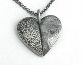 Fine Silver Fingerprint and Dog Nose or Paw Print Necklace for Pet Lovers Only