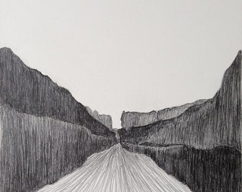 Desert Canyon Original Drawing