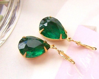 Green Emerald Earrings, Gold Filled Ear Wires – Estate Style Old Hollywood Earrings, Birthstone Jewelry