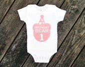 Birthday Bear Cotton One Piece in White with Pink Print - Baby's First Birthday, One year old, Party Outfit