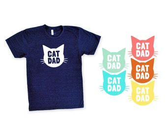 Cat Dad TriBlend Heather Navy Blue TShirt - Family Photos, Gift for Dad, Gift for Him, Father's Day, Cat Person, Cat Lady