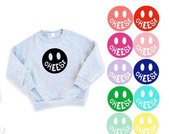 Cheese Emoji Kids Heather Grey Raglan Sleeve Sweatshirt - Family Photos, Happy, Silly, Smiley Face, Cozy Sweater for Fall, Emoji