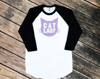 Cat Lady Black Raglan Sleeve Baseball Style TShirt with Lavender Purple print - Family Photos, Mother's Day, Gift for Her, Crazy Cat Lady