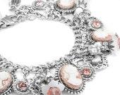 Cameo Charm Bracelet, Vintage Rose Cameo, Flowers and Pearls Bracelet, Rose Cameo Jewelry, Heart Charm Bracelet