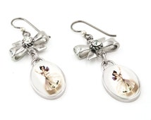 Silver Fairy Earrings with Crystals, Fairies Ballernia Jewelry, Vintage Fairy Images Glass Drop Earrings