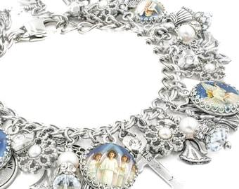 Angel Charm Bracelet, Guardian Angel Jewelry, Angel Charms