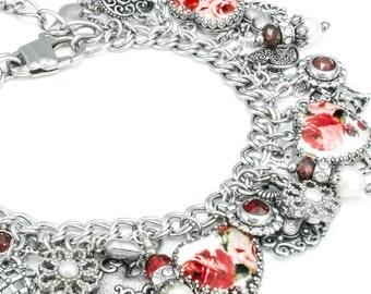 Charm Bracelet - Red Roses Bracelet - Heart Charm Bracelet - Red Rose Jewelry - Heart Rose Jewelry