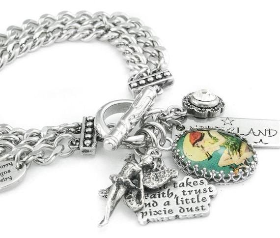 Tinkerbell Charm Bracelet: Peter Pan Charm Bracelet Tinkerbell Charm By BlackberryDesigns