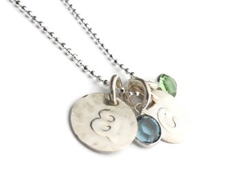 Mother's Day Gift Women's Gift Jewelry Gift For Her Swarovski Drop Crystal And Disc Initial Birthstone Necklace Personalized Sterling Silver
