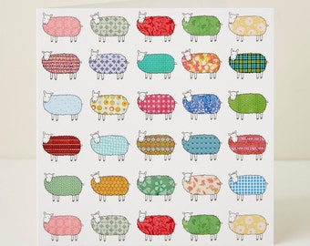 Flock of Colourful Sheep Pattern Greeting Card