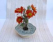 Petite Ikebana Flower Vase . Handmade Ceramic Pottery . Doily Lace Ikebana Vase . forest green