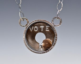 The Hanging Chad Election Necklace in recycled sterling silver