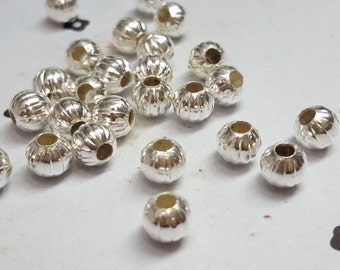 6mm silver plated round pumpkin round bead (25)