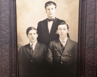 Three Stunned Boys - Antique Photograph in a Folder 5 x 7 Display or Gift Instant Ancestors