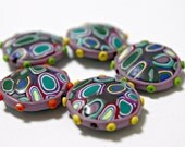 Large Polymer Clay Focal Beads in Lavender With Colorful Center and Whimsical Edges Puffy Pillow Beads