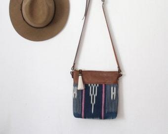 Indigo Bag. Tribal Bag. Boho Bag. Brown Leather Bag.