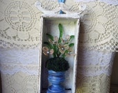 RESERVED4MARY - vintage altered flower - thread spool vase - shadowbox - wall hanging - decoration -  NO391